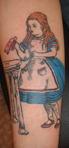 alice in wonderland lewis carol tattoo colour