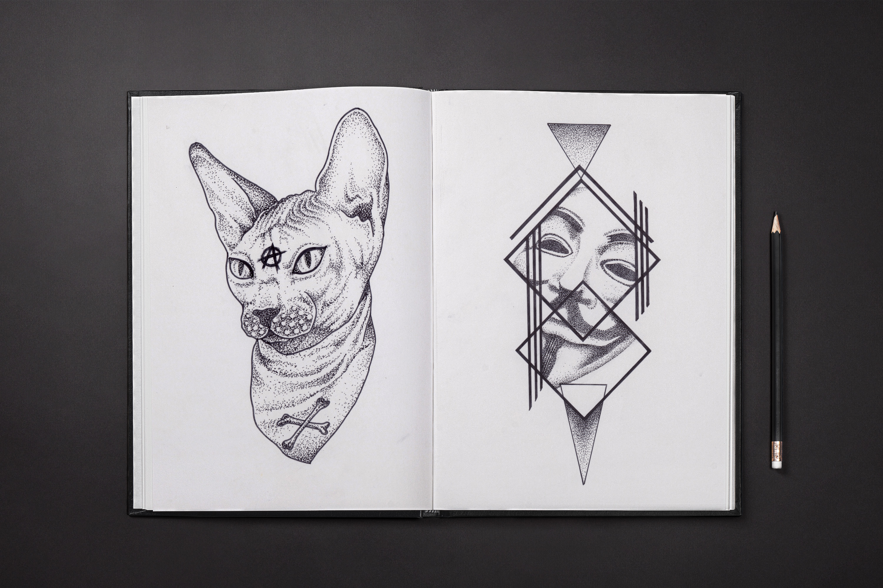 anonymous sphinx cat reds tattoo dot work
