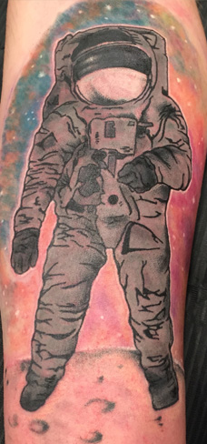astronaut colour new school tattoo space moon