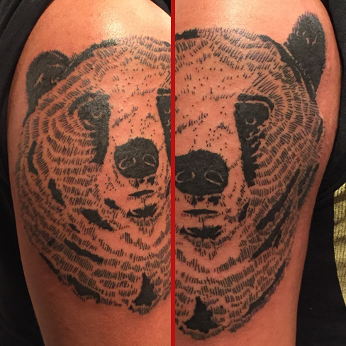 Tattoo, Best Tattoo, Colchester, Essex, Tattoo art, Tattoo Artist, Tattoos, Tattoo design, Top Tattoo, Black & grey Tattoo, reds tattoo, sonya trusty, essex tattoo, colchester, realism tattoo, bear, bear tattoo, illustrated tattoo, linework, linework tattoo