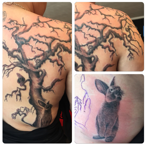 Tattoo, Best Tattoo, Colchester, Essex, Tattoo art, Tattoo Artist, Tattoos, Tattoo design, Top Tattoo, Black & grey Tattoo, reds tattoo, sonya trusty, essex tattoo, colchester, realism tattoo, bunny, bunny rabbit, rabbit tattoo, tree, tree tattoo, back tattoo, back piece