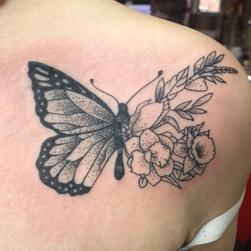 butterfly black & grey reds tattoo colchester essex sonya trusty