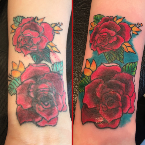 rose rework cover up tattoo colchester essex reds tattoo
