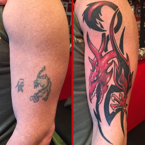 Tattoo, Best Tattoo, Colchester, Essex, Tattoo art, Tattoo Artist, Tattoos, Tattoo design, Top Tattoo, cover up Tattoo, reds tattoo, sonya trusty, essex tattoo, colchester, tattoo ideas, cover up, before and after, dragon, dragon tattoo, tribal, tribal tattoo, red ink