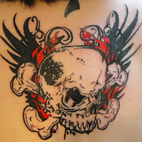 new school skull back tattoo graphic