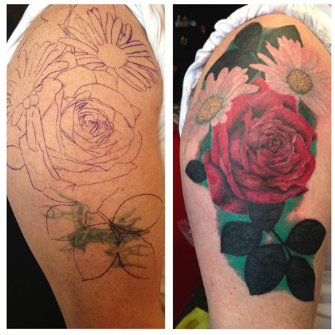 cover up tattoo rework old tattoo roses realism