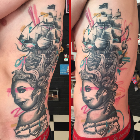 graffiti girl pin up tattoo colchester essex colour ribs reds tattoo