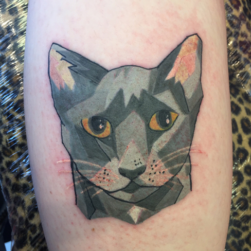 geometric cat tattoo reds colchester essex colour