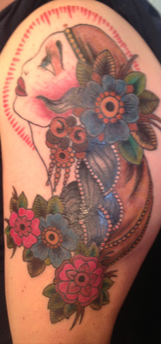 gypsy head colour new school tattoo flowers arm