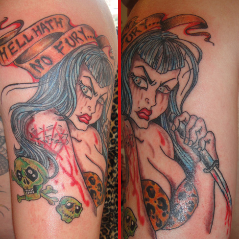 hell hath no fury pin up girl tattoo new school colour