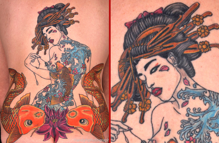 Japanese new school geisha tattoo back piece koi