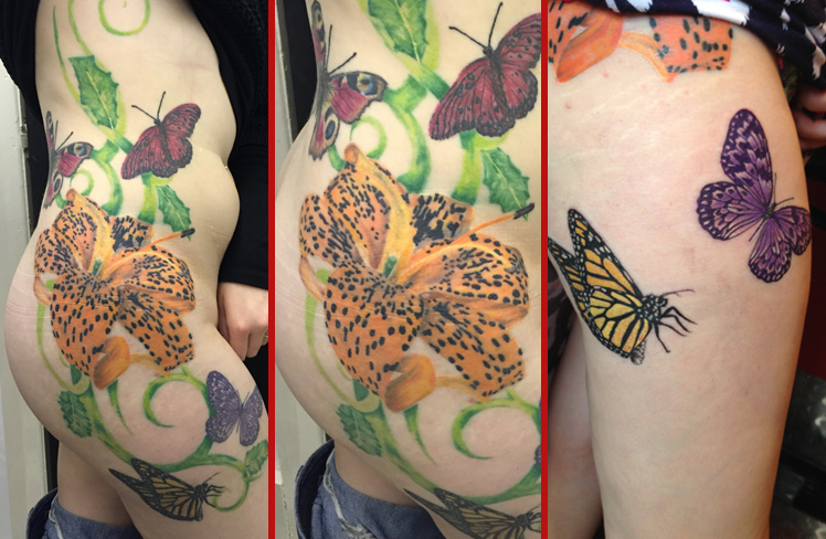 leg ribs tiger lily butterflies large tattoo girly colour
