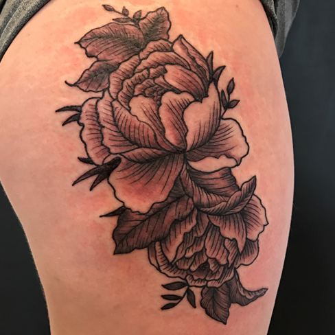 illustrated flowers black & grey colchester reds tattoo essex