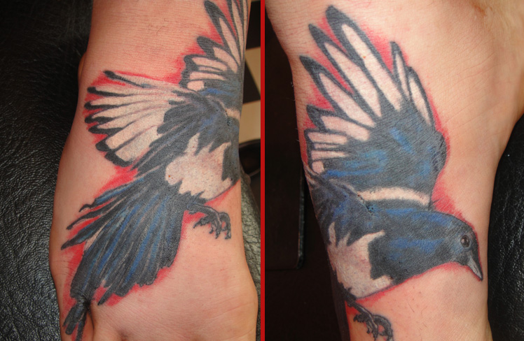 magpie colour foot tattoo one for sorrow bird