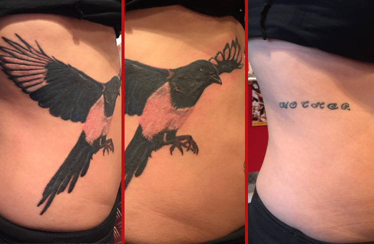 Tattoo, Best Tattoo, Colchester, Essex, Tattoo art, Tattoo Artist, Tattoos, Tattoo design, Top Tattoo, cover up Tattoo, reds tattoo, sonya trusty, essex tattoo, colchester, tattoo ideas, cover up, before and after, magpie, magpie tattoo, bird, bird tattoo, ribs, ribs tattoo