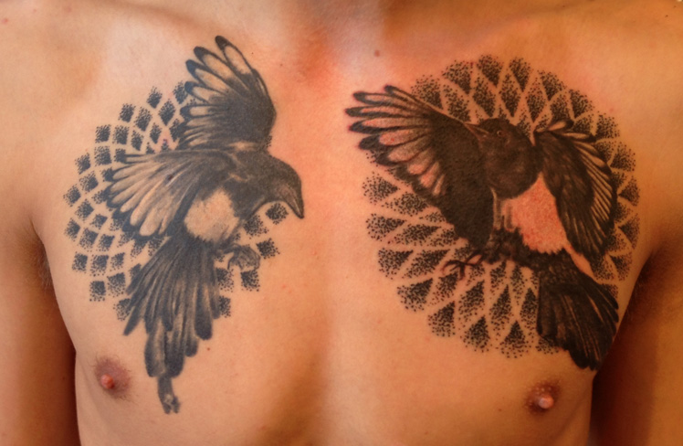 sacred geometry magpies two for joy mandala black and grey realism birds dot work tattoo chest tattoo