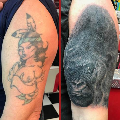 cover up tattoo gorilla primate reds colchester essex sonya trusty