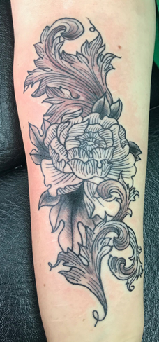 illustrated flowers sonya trusty black and grey reds tattoo colchester essex