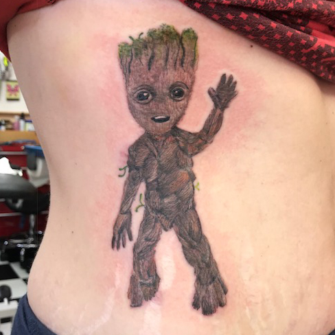 baby groot colour reds tattoo colchester essex sonya trusty