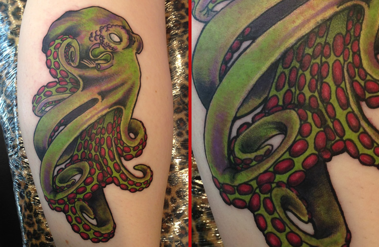 octopus new olds school colour fish tattoo