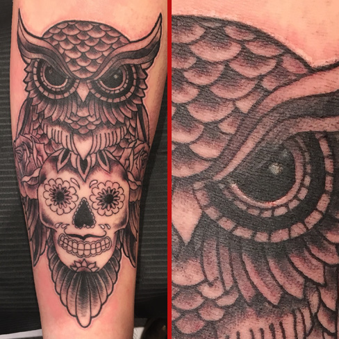 owl scratchy black and grey leg tattoo bird wise black and grey realism
