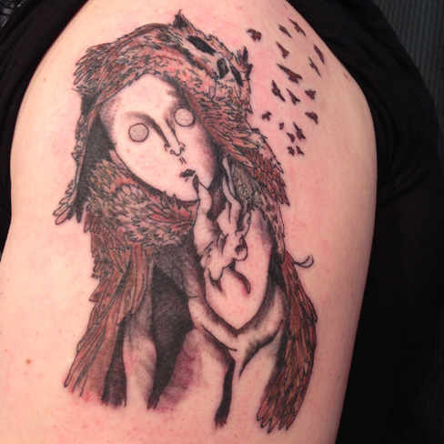 owl lady birds colour tattoo odd