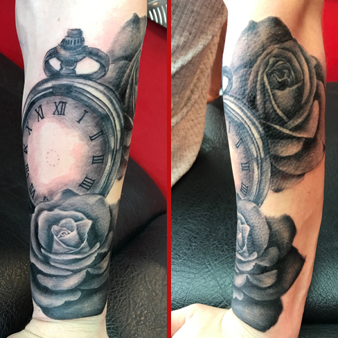 Tattoo, Best Tattoo, Colchester, Essex, Tattoo art, Tattoo Artist, Tattoos, Tattoo design, Top Tattoo, Black & grey Tattoo, reds tattoo, sonya trusty, essex tattoo, colchester, realism tattoo, tattoo ideas, pocket watch, pocket watch tattoo, rose, rose tattoo