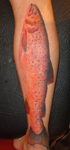 realistic carp fish tattoo koi leg colour