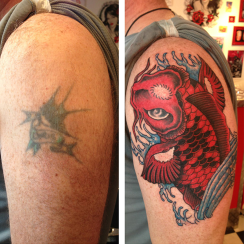red colour koi cover up tattoo japanese rework