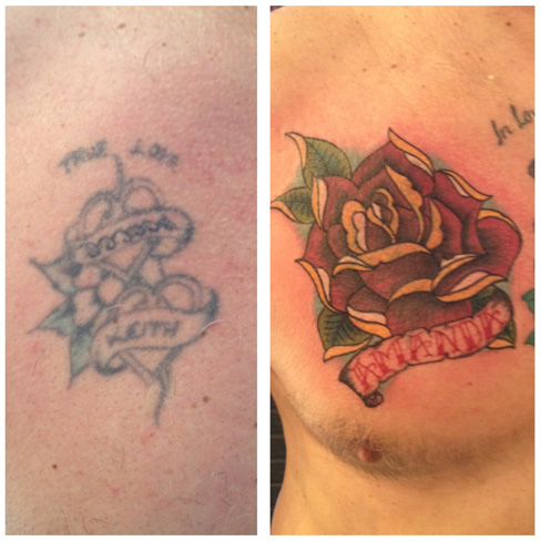cover up tattoo rework old tattoo chest