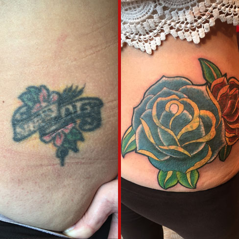 name cover up tattoo old school roses rework