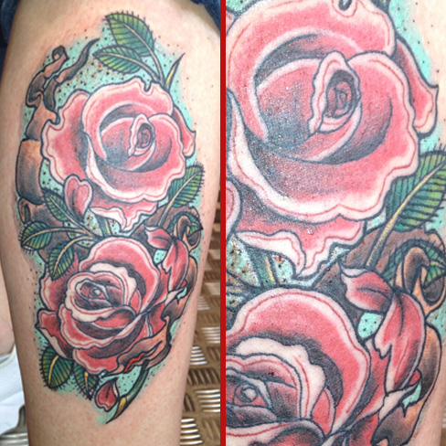 old new school roses tattoo leg banner ribbon