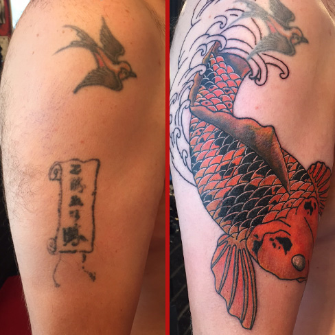 Tattoo, Best Tattoo, Colchester, Essex, Tattoo art, Tattoo Artist, Tattoos, Tattoo design, Top Tattoo, cover up Tattoo, reds tattoo, sonya trusty, essex tattoo, colchester, tattoo ideas, cover up, before and after, koi, koi fish, japanese, japanese tattoo, fish, fish tattoo, koi tattoo