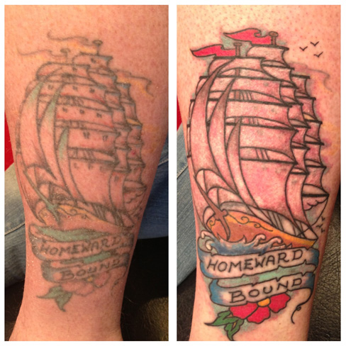 ship cover up tattoo rework old tattoo old school