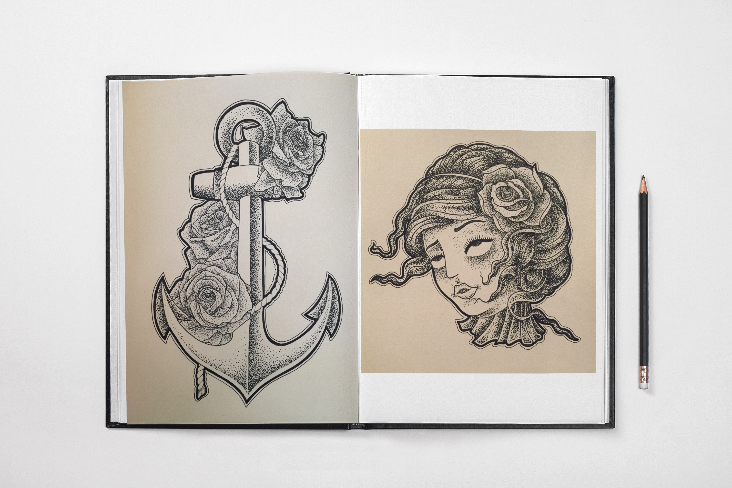 dot work anchor pin up severed head sketch reds tattoo colchester tattoo