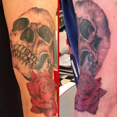 skull rose red black and grey tattoo sleeve