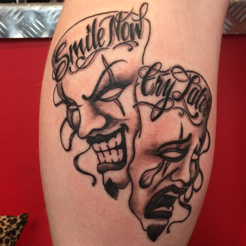 Tattoo, Best Tattoo, Colchester, Essex, Tattoo art, Tattoo Artist, Tattoos, Tattoo design, Top Tattoo, Black & grey Tattoo, reds tattoo, sonya trusty, essex tattoo, colchester, realism tattoo, tattoo ideas, smile now cry later, smile, cry, theatre masks, theatre mask tattoo, theatre