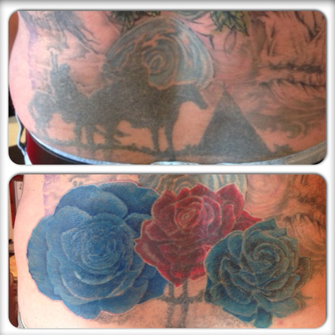 cover up tattoo rework old tattoo back total black