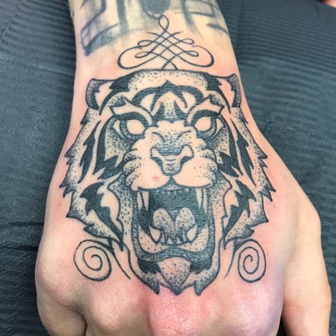 tiger hand black and grey tattoo reds tattoo colchester essex