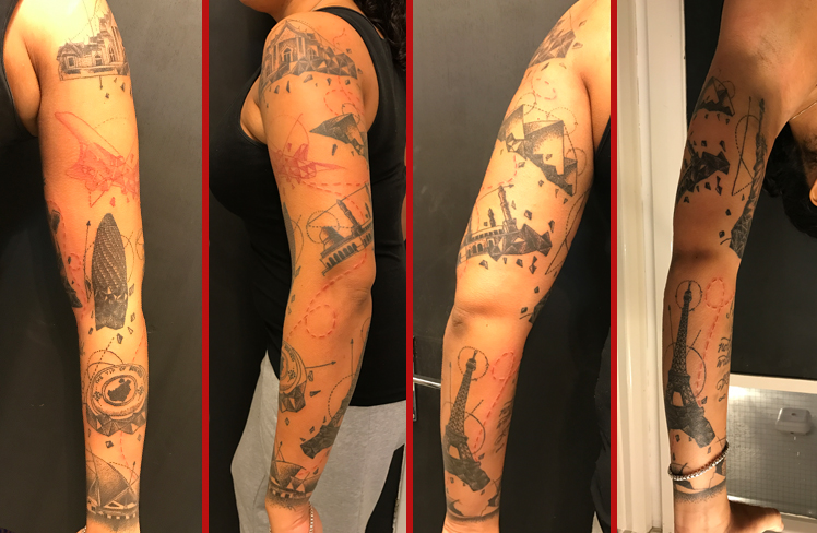 travel sleeve geometric colour tattoo reds colchester essex