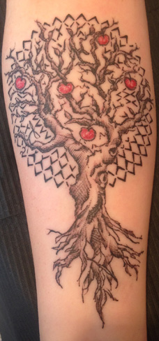 tree mandala apple tattoo arm scratchy sketchy