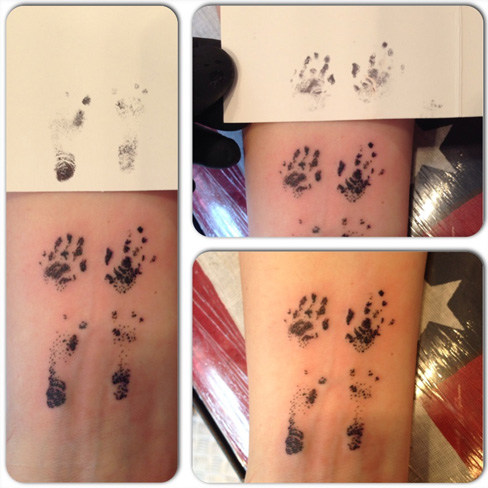 hand foot print memorial tattoo premature baby realism black and grey tattoo