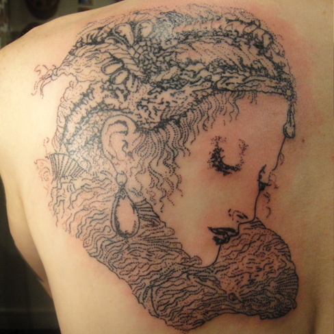 victorian face dotwork dot realism pointillism portrait black and grey back tattoo