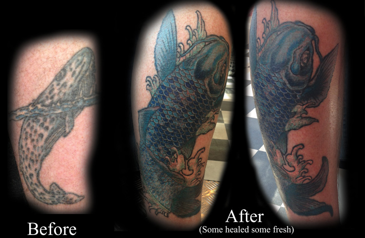 whale cover up leg tattoo koi fish japanese blue leg tattoo rework