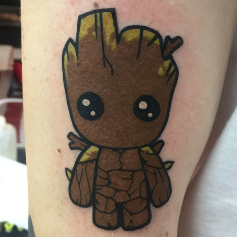 Tattoo, Best Tattoo, Colchester, Essex, Tattoo art, Tattoo Artist, Tattoos, Tattoo design, Top Tattoo, reds tattoo, anna kowacka, essex tattoo, colchester, tattoo ideas, colour, colour tattoo, groot, baby groot, groot tattoo, guardians of the galaxy, marvel, marvel comics, marvel tattoo, cute