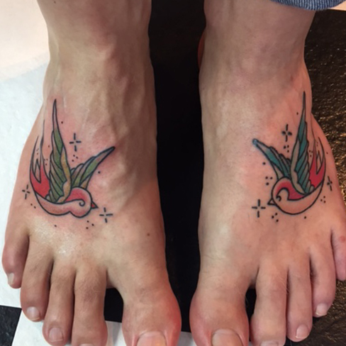 Tattoo, Best Tattoo, Colchester, Essex, Tattoo art, Tattoo Artist, Tattoos, Tattoo design, Top Tattoo, reds tattoo, anna kowacka, essex tattoo, colchester, tattoo ideas, colour, colour tattoo, swallow, swallow tattoo, traditional, old school, foot, foot tattoo