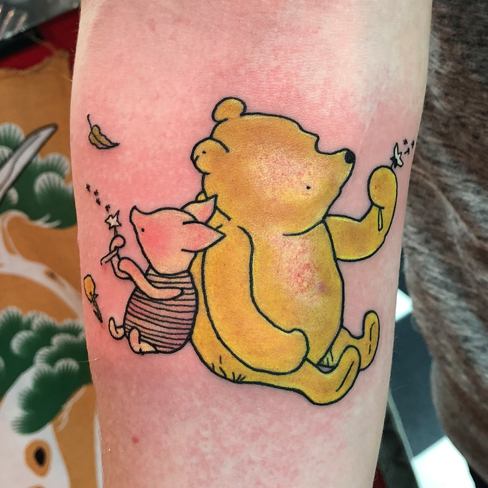 Tattoo, Best Tattoo, Colchester, Essex, Tattoo art, Tattoo Artist, Tattoos, Tattoo design, Top Tattoo, reds tattoo, anna kowacka, essex tattoo, colchester, tattoo ideas, colour, colour tattoo, winnie the pooh, disney, piglet, winnie the pooh tattoo, piglet tattoo