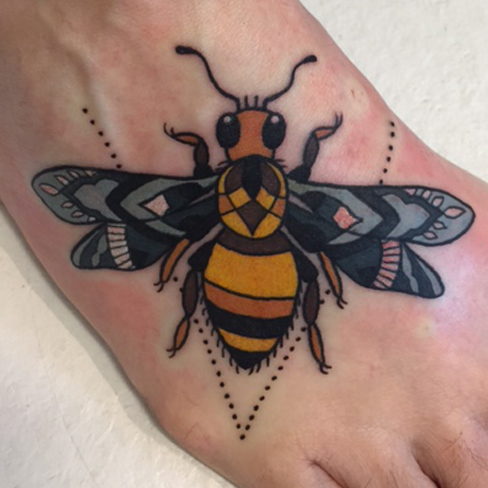 Tattoo, Best Tattoo, Colchester, Essex, Tattoo art, Tattoo Artist, Tattoos, Tattoo design, Top Tattoo, reds tattoo, anna kowacka, essex tattoo, colchester, tattoo ideas, colour, colour tattoo, bee, bumble bee, bee tattoo, bumble bee tattoo, foot, foot tattoo