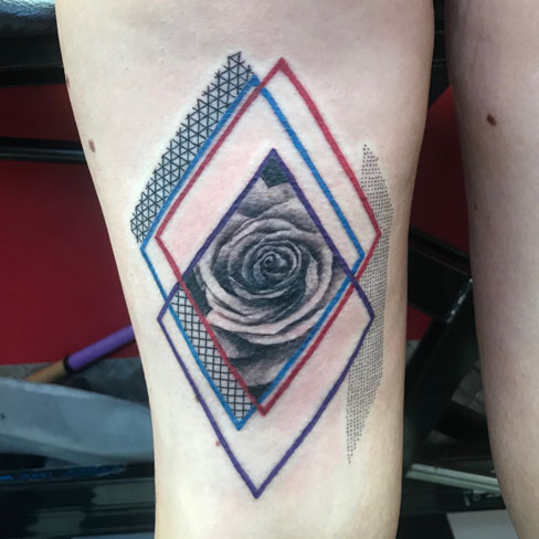 geometric rose colour reds tattoo colchester essex sonya trusty