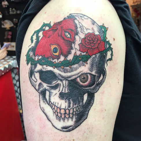 skull colour reds tattoo colchester essex sonya trusty